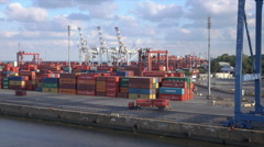 Buenos Aires container port, lorry carries container, Argentina - stock footage