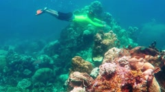 Man with snorkel dive - stock footage
