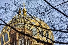 Cupola of the new synagogue Berlin, seen through some branches Stock Photos