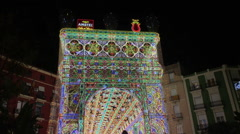 Fallas Celebration decoration in downtown Valencia Spain - stock footage