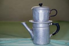 Vintage metallic coffee maker from naples italy - stock photo