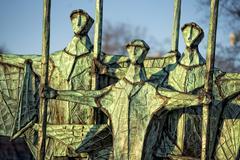 fisherman sailor silhouette copper statue in hamburg - stock photo