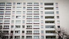 facade of a plattenbau at Berlin Alexanderplatz - stock photo