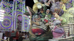 Fallas sculpture displayed in downtown area of Valencia Spain 4k - stock footage
