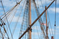 Old vessel sail ship detail close up Stock Photos