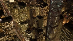 dramatic aerial shot of breathtaking city view at night sky - stock footage