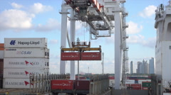 Overhead gantry loads container onto ship, Buenos Aires port, Argentina - stock footage