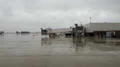 Dayton Ohio airport empty tarmac on rainy day 4k - stock footage