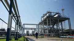 Facility with pipe and tube for chemical operation Stock Footage