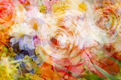 blurred double exposure of flowers for backgrounds - stock photo