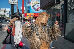 LOS ANGELES, USA - AUGUST 1, 2014 - people and movie mask on  LA Hollywood Wa - stock photo
