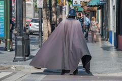 LOS ANGELES, USA - AUGUST 1, 2014 - people and movie mask on  LA Hollywood Wa Stock Photos
