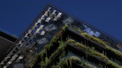 Worlds tallest green wall - sustainable architecture - zoom out Stock Footage
