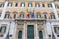 Montecitorio palace place and obelisk view - stock photo