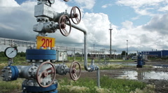 Power facility with pipe and pump for chemical operation Stock Footage