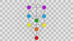 Kabbalah Tree of Life with Hebrew Text in a Color Spectrum on a Flower of Life Stock Footage