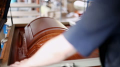 The gluing edges. The manufacturing process of the facade of kitchen furniture. Stock Footage