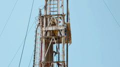 Drilling rig Descent tubes with a crane Stock Footage
