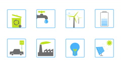 Green energy animated icons for your website, application or movie. - stock footage