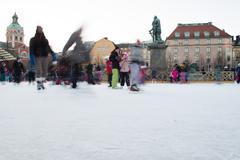 STOCKHOLM, SWEDEN - DECEMBER 29 2013, people doing ice skating in stockholm m - stock photo