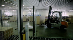 Packages with the details of furniture are transported to storage warehouse Stock Footage