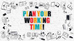 Plan Your Working Time on White Brick Wall Piirros