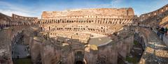 ROME, ITALY - NOVEMBER 24 2012 visitors inside Coliseum colosseum - Huge inte - stock photo