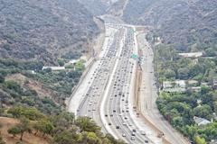 Los angeles congested highway aerial view Stock Photos