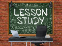 Hand Drawn Lesson Study on Office Chalkboard - stock illustration