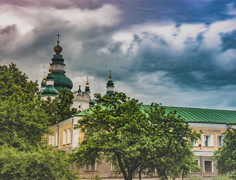 Dome and Roof of the Trinity-Elias Monastery in Chernigiv Stock Footage