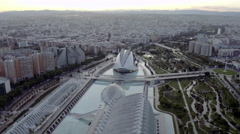 Aerial view Sciencies of Valencia Stock Footage
