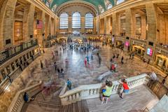NEW YORK - USA - 11 JUNE 2015 Interior of Grand Central station full of peopl Stock Photos