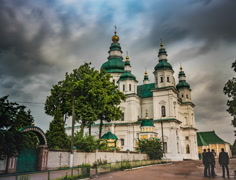 General View of Trinity Monastery in Chernigov Stock Footage