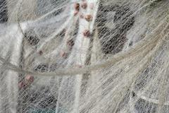Fishing net hanging for drying Stock Photos