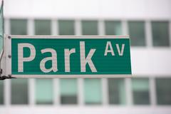 green new york street sign: Park AVE - stock photo
