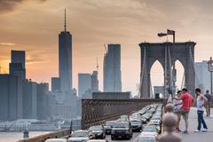 NEW YORK - USA - JUNE,12 2015 heavy traffic on manhattan bridge  manhattan br - stock photo