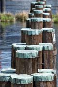Wood  bollard in Baltimore Harbor Stock Photos