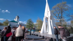 Chapel of Our Lady of Kazan imelapse in Yaroslavl, Russia Stock Footage