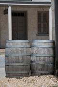 Barrels in a far west town - stock photo