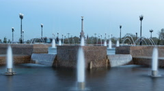 Fountain Performance in Strelka Park of Yaroslavl day to night timelapse Stock Footage