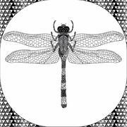 Coloring page of Balck Dragonfly, Zentangle Illustartion Stock Illustration