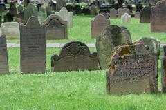 NEW YORK - USA - 11 JUNE 2015  - trinity old tombstones of 1700 - stock photo