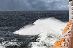 Ship in the storm tempest - stock photo