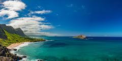 Oahu east coast landscape panorama Stock Photos