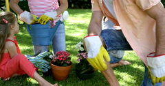 Portrait of father is smiling in front of his family during the gardening Stock Footage