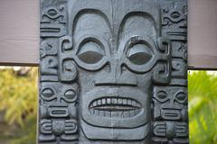 polynesian statue close up detail - stock photo