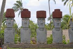 easter island moai stone statue - stock photo