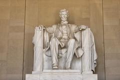 Abraham Lincoln statue at Washington DC Memorial - stock photo