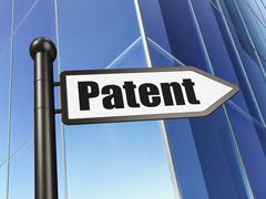 Law concept: sign Patent on Building background - stock illustration