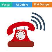 Old telephone icon. Flat design. Vector illustration. - stock illustration